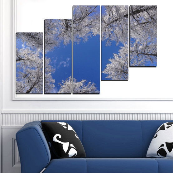 Canvas prints & wall decorative panels - 5 pieces №0546 » Blue, Gray, Dark grey » Forest, Sky, Tree, Winter Form #8