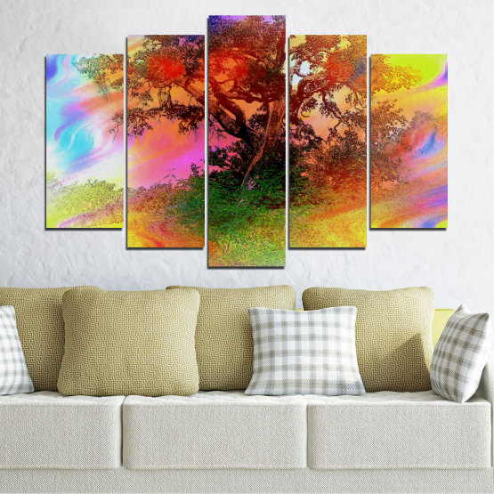 Canvas prints & wall decorative panels - 5 pieces №0547 » Green, Orange, Brown, Gray, Beige » Abstraction, Tree, Colorful Form #1