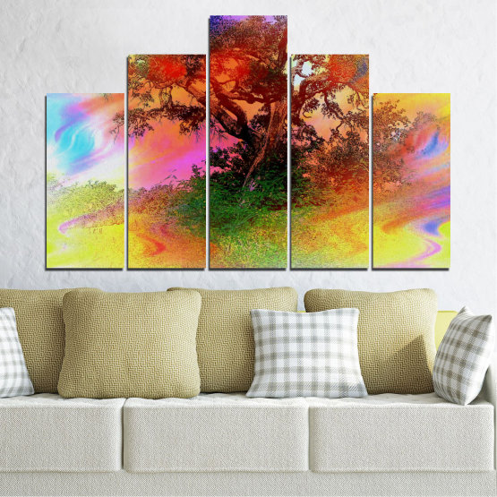 Canvas prints & wall decorative panels - 5 pieces №0547 » Green, Orange, Brown, Gray, Beige » Abstraction, Tree, Colorful Form #5