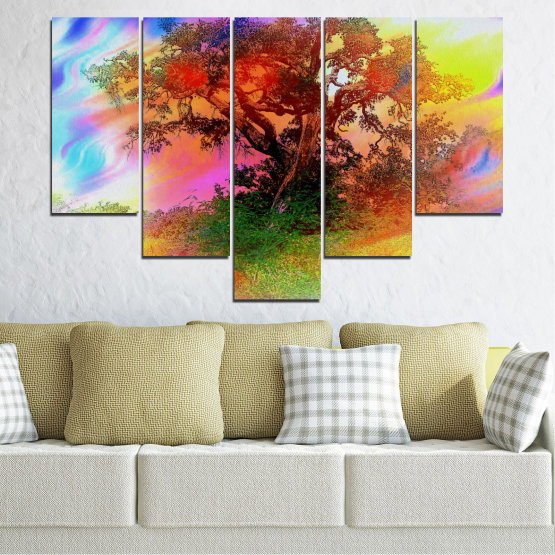 Canvas prints & wall decorative panels - 5 pieces №0547 » Green, Orange, Brown, Gray, Beige » Abstraction, Tree, Colorful Form #6