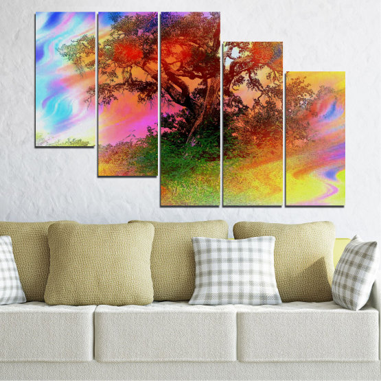 Canvas prints & wall decorative panels - 5 pieces №0547 » Green, Orange, Brown, Gray, Beige » Abstraction, Tree, Colorful Form #7