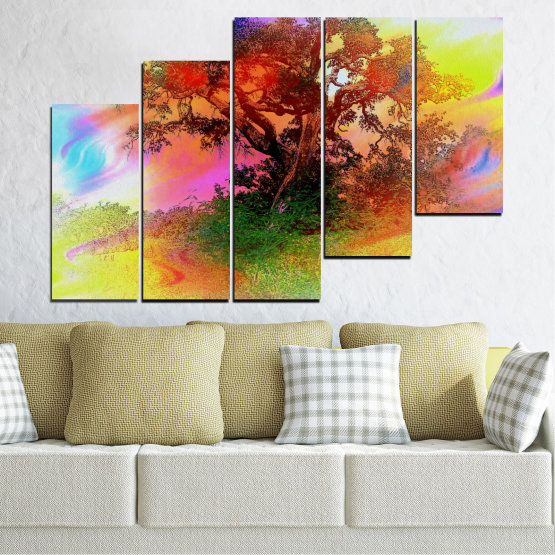 Canvas prints & wall decorative panels - 5 pieces №0547 » Green, Orange, Brown, Gray, Beige » Abstraction, Tree, Colorful Form #8