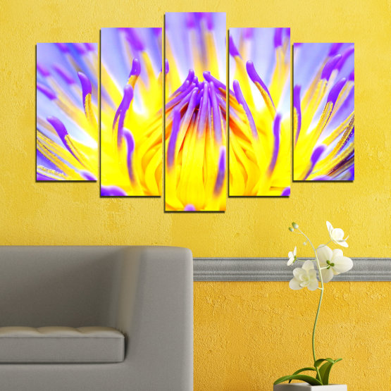 Canvas prints & wall decorative panels - 5 pieces №0548 » Purple, Yellow, Gray » Flowers, Colorful, Leaf Form #1