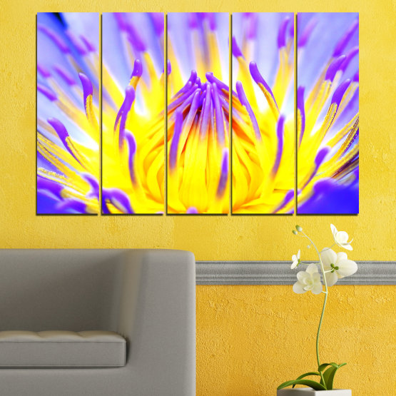 Canvas prints & wall decorative panels - 5 pieces №0548 » Purple, Yellow, Gray » Flowers, Colorful, Leaf Form #2
