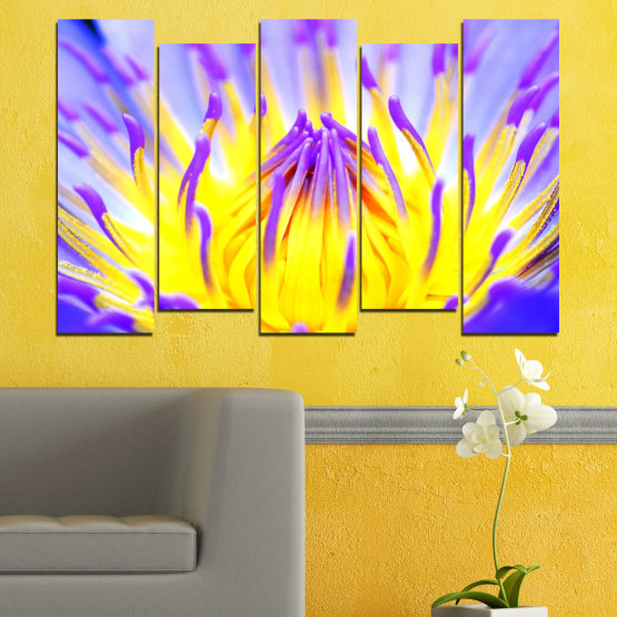 Canvas prints & wall decorative panels - 5 pieces №0548 » Purple, Yellow, Gray » Flowers, Colorful, Leaf Form #3