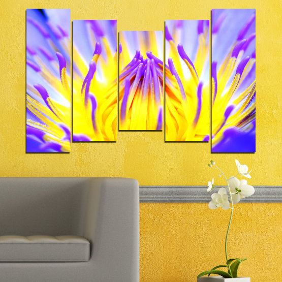 Canvas prints & wall decorative panels - 5 pieces №0548 » Purple, Yellow, Gray » Flowers, Colorful, Leaf Form #4