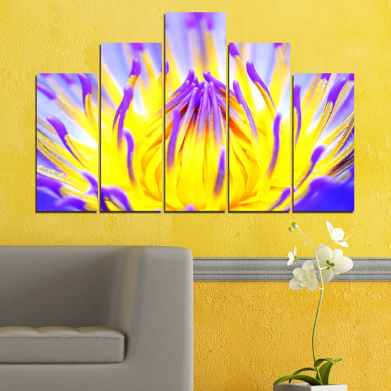 Canvas prints & wall decorative panels - 5 pieces №0548 » Purple, Yellow, Gray » Flowers, Colorful, Leaf Form #5