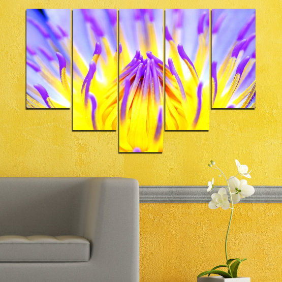 Canvas prints & wall decorative panels - 5 pieces №0548 » Purple, Yellow, Gray » Flowers, Colorful, Leaf Form #6