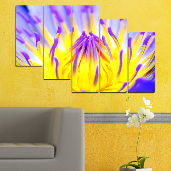 Canvas prints & wall decorative panels - 5 pieces №0548 » Purple, Yellow, Gray » Flowers, Colorful, Leaf Form #7