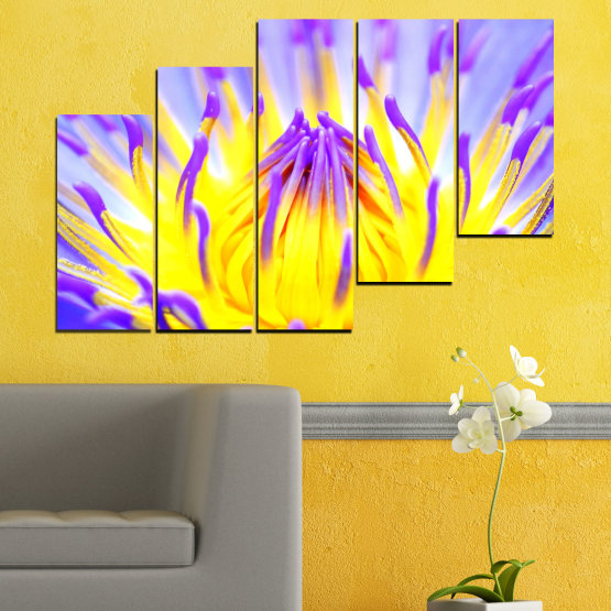 Canvas prints & wall decorative panels - 5 pieces №0548 » Purple, Yellow, Gray » Flowers, Colorful, Leaf Form #8