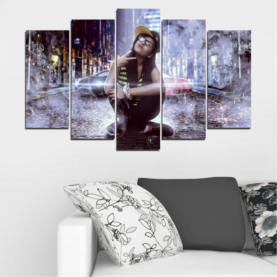 Canvas prints & wall decorative panels - 5 pieces №0549 » Black, Gray, Dark grey » Woman, City, Smoke, Night, Music Form #1