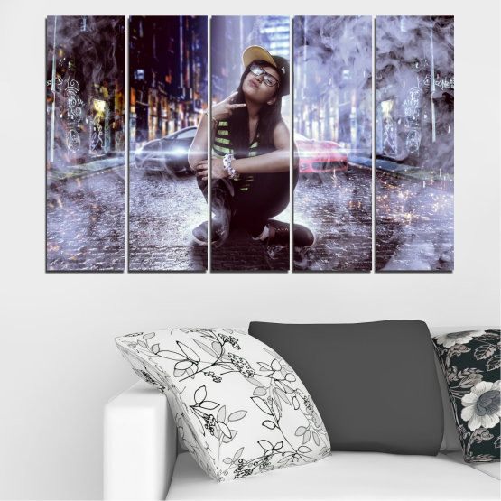 Canvas prints & wall decorative panels - 5 pieces №0549 » Black, Gray, Dark grey » Woman, City, Night, Smoke, Music Form #2