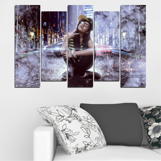 Canvas prints & wall decorative panels - 5 pieces №0549 » Black, Gray, Dark grey » Woman, City, Smoke, Night, Music Form #3