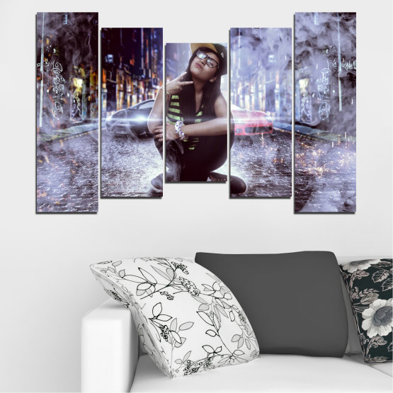 Canvas prints & wall decorative panels - 5 pieces №0549 » Black, Gray, Dark grey » Woman, City, Night, Smoke, Music Form #4