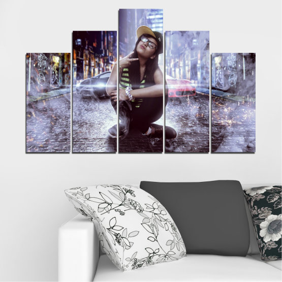 Canvas prints & wall decorative panels - 5 pieces №0549 » Black, Gray, Dark grey » Woman, City, Night, Smoke, Music Form #5