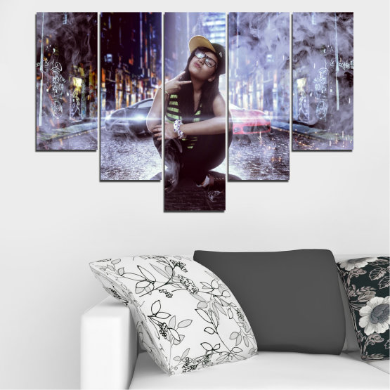 Canvas prints & wall decorative panels - 5 pieces №0549 » Black, Gray, Dark grey » Woman, City, Night, Smoke, Music Form #6