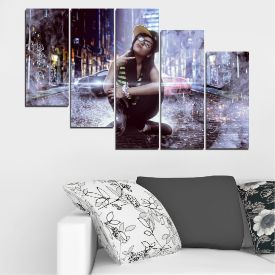 Canvas prints & wall decorative panels - 5 pieces №0549 » Black, Gray, Dark grey » Woman, City, Night, Smoke, Music Form #7