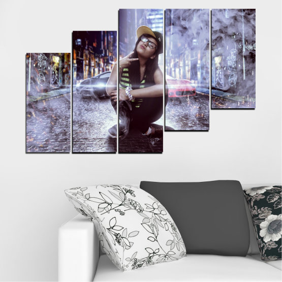 Canvas prints & wall decorative panels - 5 pieces №0549 » Black, Gray, Dark grey » Woman, City, Smoke, Night, Music Form #8