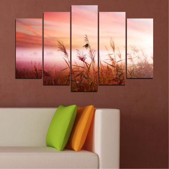 Canvas prints & wall decorative panels - 5 pieces №0055 » Brown, White, Beige, Milky pink » Nature, Sunset, Wheatear, Field Form #1