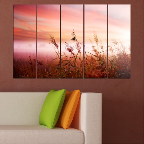 Canvas prints & wall decorative panels - 5 pieces №0055 » Brown, White, Beige, Milky pink » Nature, Sunset, Wheatear, Field Form #2