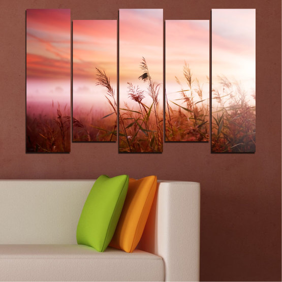 Canvas prints & wall decorative panels - 5 pieces №0055 » Brown, White, Beige, Milky pink » Nature, Sunset, Wheatear, Field Form #3