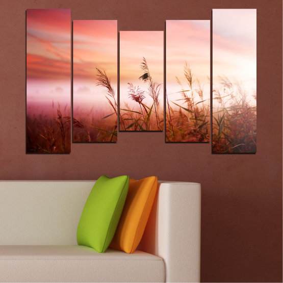 Canvas prints & wall decorative panels - 5 pieces №0055 » Brown, White, Beige, Milky pink » Nature, Sunset, Wheatear, Field Form #4