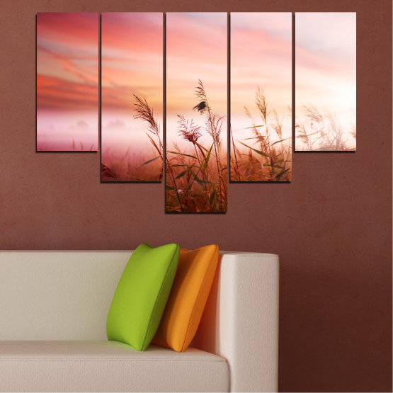 Canvas prints & wall decorative panels - 5 pieces №0055 » Brown, White, Beige, Milky pink » Nature, Sunset, Wheatear, Field Form #6