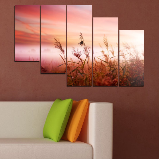 Canvas prints & wall decorative panels - 5 pieces №0055 » Brown, White, Beige, Milky pink » Nature, Sunset, Wheatear, Field Form #7