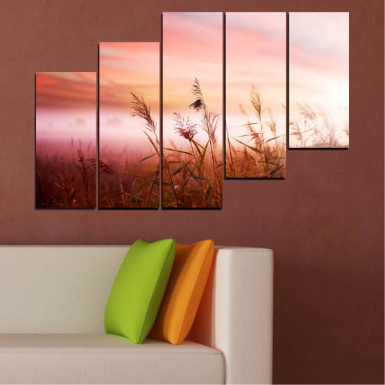 Canvas prints & wall decorative panels - 5 pieces №0055 » Brown, White, Beige, Milky pink » Nature, Sunset, Wheatear, Field Form #8
