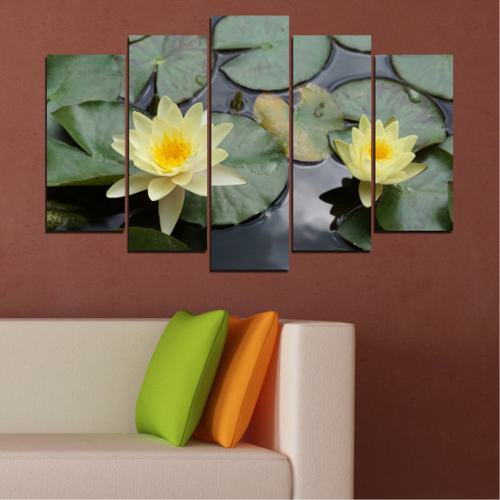 Canvas prints & wall decorative panels - 5 pieces №0550 » Green, Black, Gray, Beige, Dark grey » Flowers, Water, Water lily Form #1