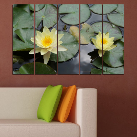 Canvas prints & wall decorative panels - 5 pieces №0550 » Green, Black, Gray, Beige, Dark grey » Flowers, Water, Water lily Form #2