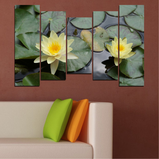 Canvas prints & wall decorative panels - 5 pieces №0550 » Green, Black, Gray, Beige, Dark grey » Flowers, Water, Water lily Form #4