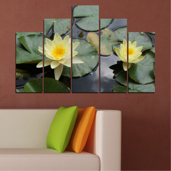 Canvas prints & wall decorative panels - 5 pieces №0550 » Green, Black, Gray, Beige, Dark grey » Flowers, Water, Water lily Form #5