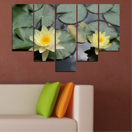 Canvas prints & wall decorative panels - 5 pieces №0550 » Green, Black, Gray, Beige, Dark grey » Flowers, Water, Water lily Form #6
