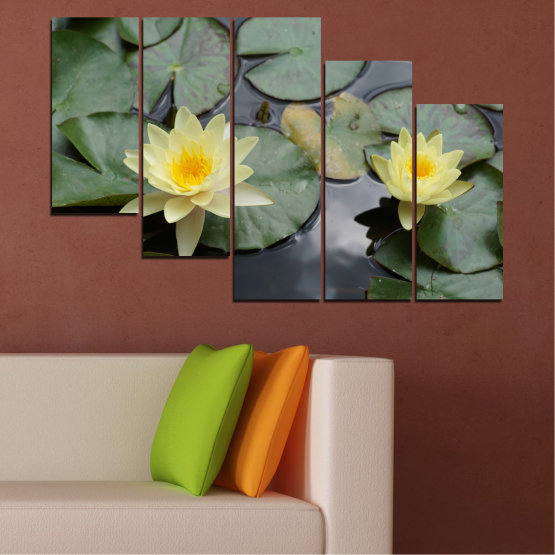 Canvas prints & wall decorative panels - 5 pieces №0550 » Green, Black, Gray, Beige, Dark grey » Flowers, Water, Water lily Form #7
