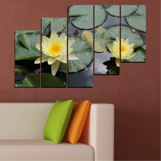 Canvas prints & wall decorative panels - 5 pieces №0550 » Green, Black, Gray, Beige, Dark grey » Flowers, Water, Water lily Form #8
