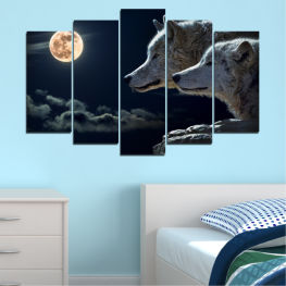 Animal, Moon, Night, Wolf » Black, Gray, White, Beige, Dark grey