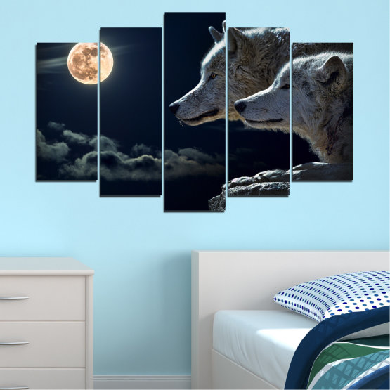 Canvas prints & wall decorative panels - 5 pieces №0551 » Black, Gray, White, Beige, Dark grey » Animal, Moon, Night, Wolf Form #1