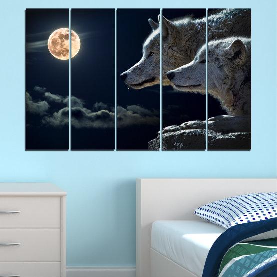 Εκτύπωση σε καμβά και διακοσμητικά πάνελ τοίχου - 5 τεμάχια №0551 » Μαύρος, Γκρί, Άσπρο, Μπεζ, Σκούρο γκρι » Ζώο, Φεγγάρι, Βράδυ, Λύκος Form #2