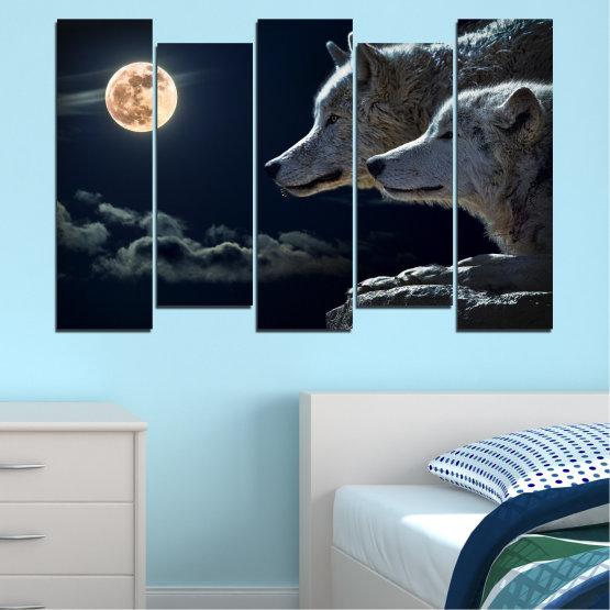 Εκτύπωση σε καμβά και διακοσμητικά πάνελ τοίχου - 5 τεμάχια №0551 » Μαύρος, Γκρί, Άσπρο, Μπεζ, Σκούρο γκρι » Ζώο, Φεγγάρι, Βράδυ, Λύκος Form #3