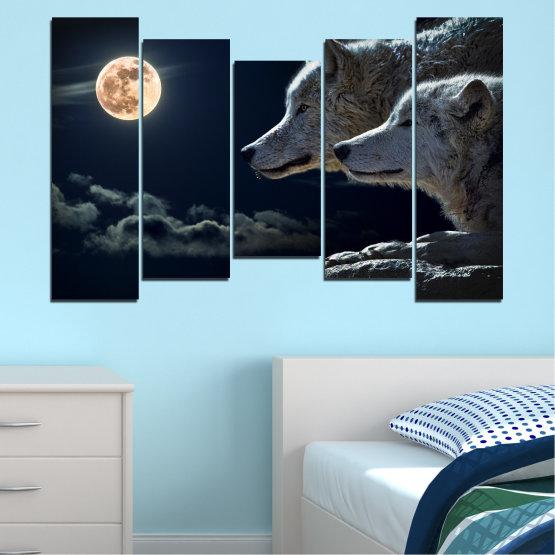 Εκτύπωση σε καμβά και διακοσμητικά πάνελ τοίχου - 5 τεμάχια №0551 » Μαύρος, Γκρί, Άσπρο, Μπεζ, Σκούρο γκρι » Ζώο, Φεγγάρι, Βράδυ, Λύκος Form #4