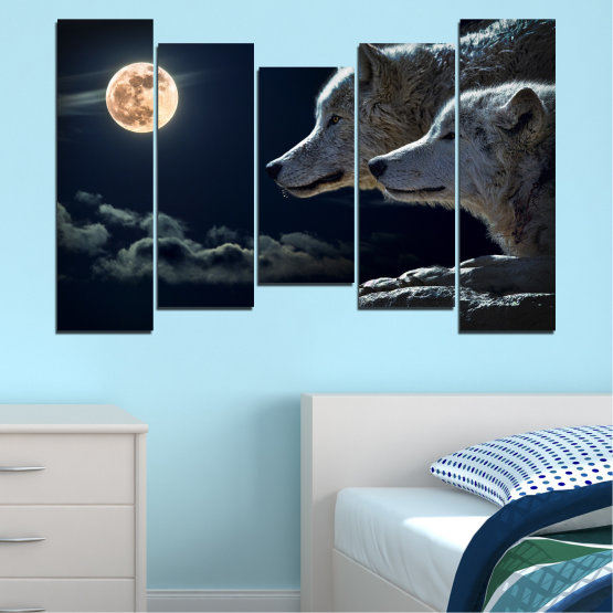 Canvas prints & wall decorative panels - 5 pieces №0551 » Black, Gray, White, Beige, Dark grey » Animal, Moon, Night, Wolf Form #4