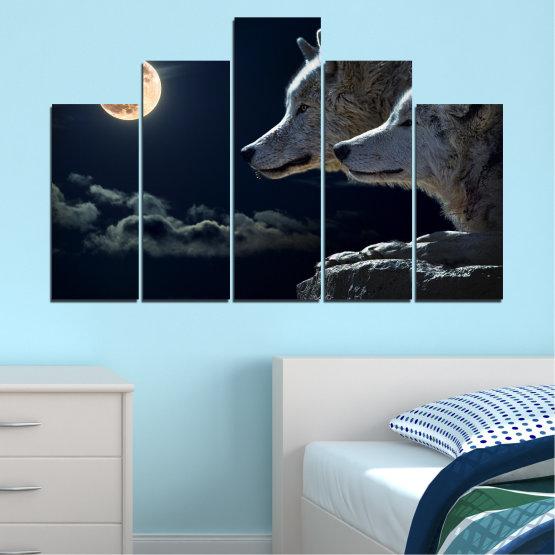 Εκτύπωση σε καμβά και διακοσμητικά πάνελ τοίχου - 5 τεμάχια №0551 » Μαύρος, Γκρί, Άσπρο, Μπεζ, Σκούρο γκρι » Ζώο, Φεγγάρι, Βράδυ, Λύκος Form #5
