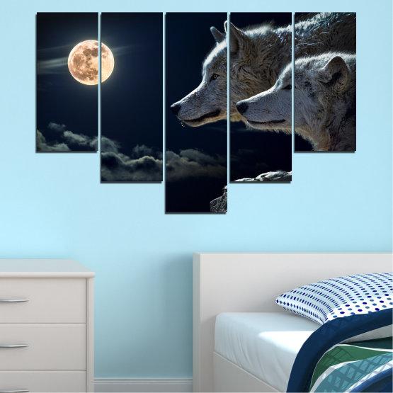 Canvas prints & wall decorative panels - 5 pieces №0551 » Black, Gray, White, Beige, Dark grey » Animal, Moon, Night, Wolf Form #6