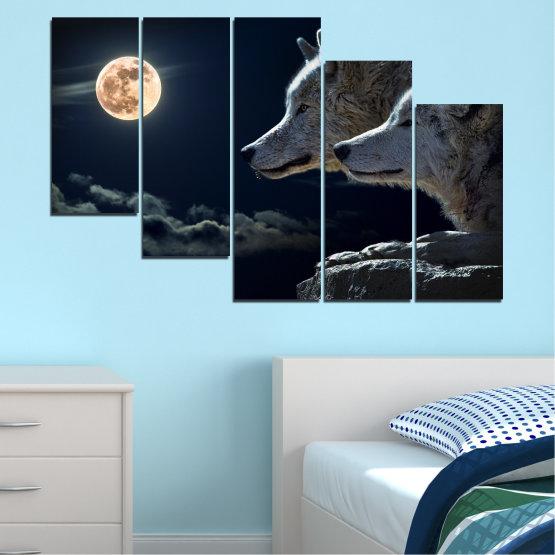 Εκτύπωση σε καμβά και διακοσμητικά πάνελ τοίχου - 5 τεμάχια №0551 » Μαύρος, Γκρί, Άσπρο, Μπεζ, Σκούρο γκρι » Ζώο, Φεγγάρι, Βράδυ, Λύκος Form #7
