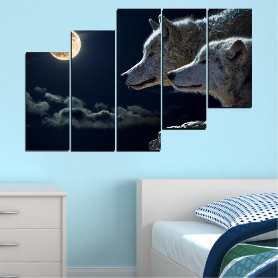 Εκτύπωση σε καμβά και διακοσμητικά πάνελ τοίχου - 5 τεμάχια №0551 » Μαύρος, Γκρί, Άσπρο, Μπεζ, Σκούρο γκρι » Ζώο, Φεγγάρι, Βράδυ, Λύκος Form #8