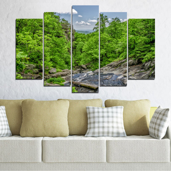 Canvas prints & wall decorative panels - 5 pieces №0552 » Green, Black, Gray, Dark grey » Nature, Landscape, Forest, Water Form #1