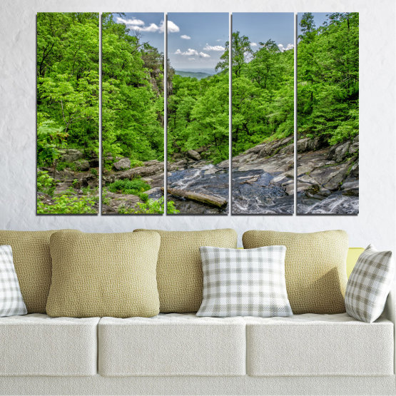 Canvas prints & wall decorative panels - 5 pieces №0552 » Green, Black, Gray, Dark grey » Nature, Landscape, Forest, Water Form #2