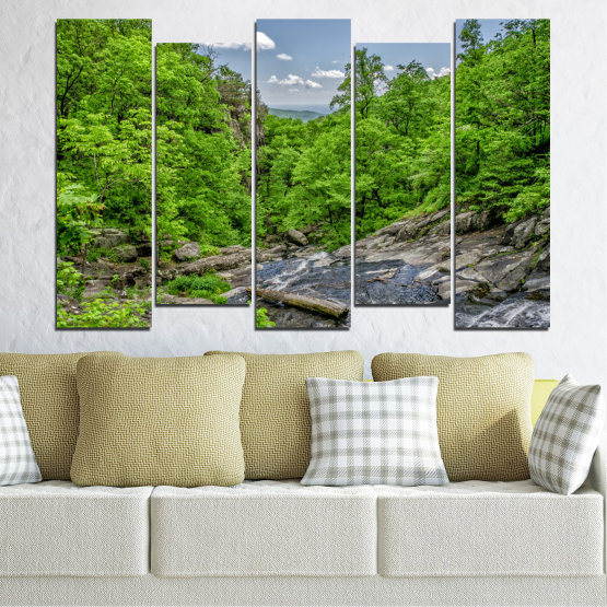 Canvas prints & wall decorative panels - 5 pieces №0552 » Green, Black, Gray, Dark grey » Nature, Landscape, Forest, Water Form #3