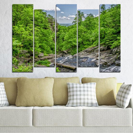 Декоративни панели и картини от канава - от 5 части №0552 » Зелен, Черен, Сив, Тъмно сив » Природа, Пейзаж, Гора, Вода Form #3